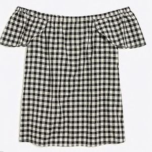 j.crew gingham off the shoulders blouse XL
